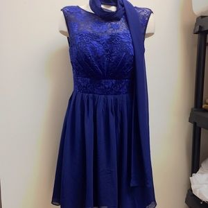 Blue Lace Prom Dress With Matching Scarf